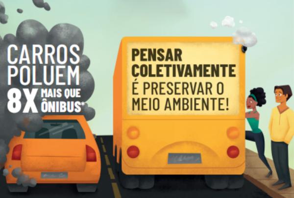 """empresas de ônibus urbano de todo o país estão promovendo, durante todo o mês de junho, a ação """"Deixe o carro em casa = Deixe a poluição em casa"""""""