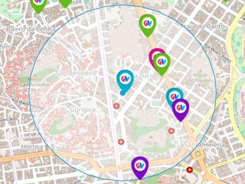 Aplicativo ÔnibusGV permite localizar o ponto de recarga do cartão mais próximo da localização do usuário